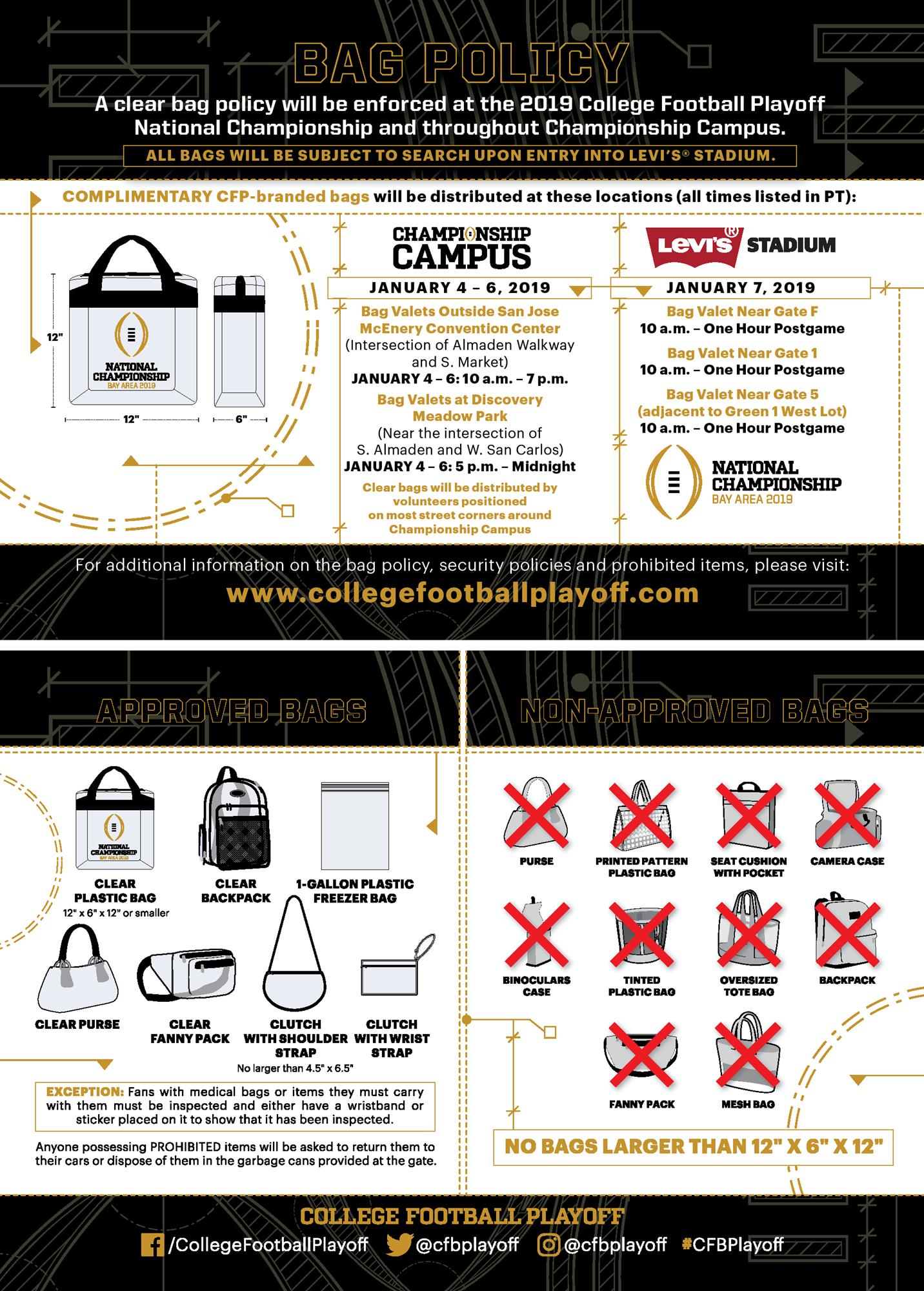Bag Policy College Football Playoff